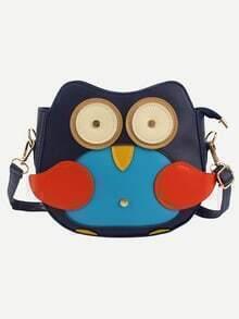 Bolso faux cuero pingüino hombro -azul