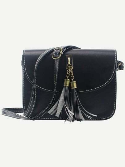 Tassel Embellished Flap Bag - Black