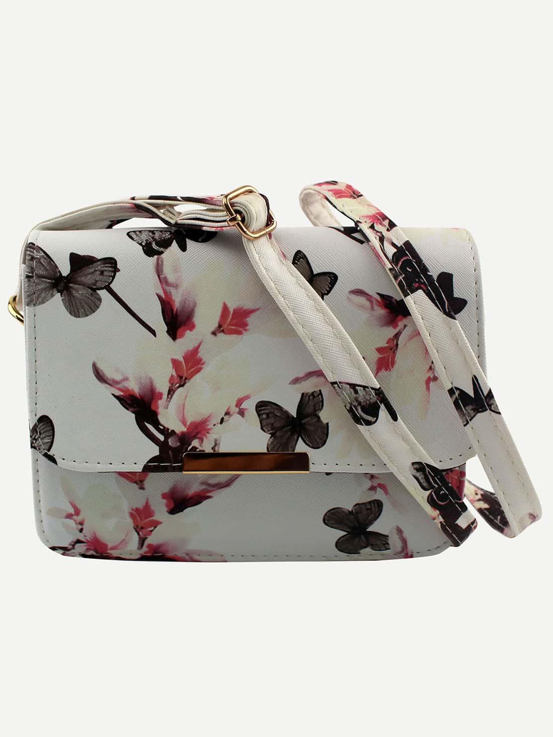 Flower & Butterfly Print Flap Bag - White