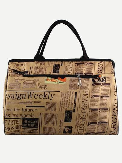 Newspaper Print Nylon Doctor Bag - Khaki