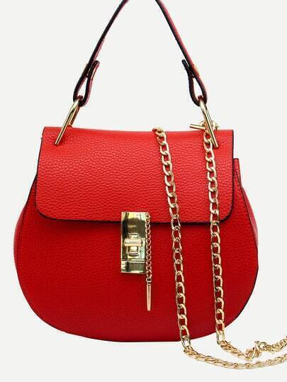 Faux Leather Handle Saddle Bag With Chain - Red