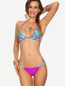 Multicolor Tropical Print Triangle Bikini Set