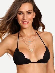 Halter Neck Scalloped Bikini Top - Black