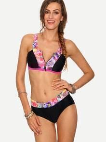 Zip Front Cutout Multicolor Flower Print Bikini Set
