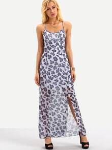 Leopard Print Slit Chiffon Cami Dress - Blue