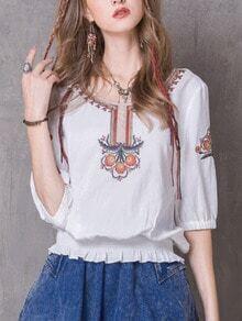 Flower Embroidered Shirred Hem Blouse - White