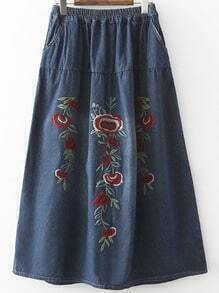 Flower Embroidered Blue Denim Skirt