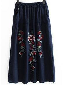 Flower Embroidered Elastic Waist Skirt - Blue