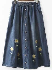 Buttoned Front Flower Embroidered Blue Denim Skirt
