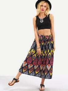 Self-Tie Multicolor Vintage Print Skirt