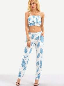 Leaf Print Flounce Cami Top With Pants - Blue