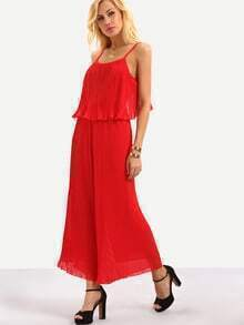Pleated Flounce Cami Top With Wide Leg Pants - Red