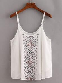 Embroidered Chiffon Cami Top - White