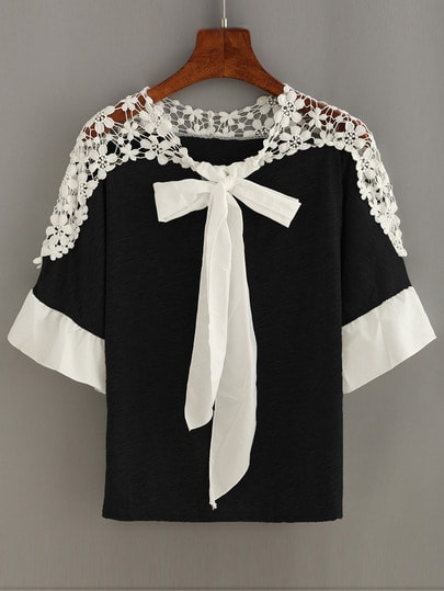 Lace Insert Tie-Neck Ruffled Sleeve Top - Black
