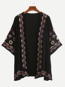 Pom Pom Trimmed Embroidered Kimono - Black