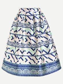 Geometric Print Box Pleated Midi Skirt - Blue
