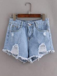 Ripped Raw Hem Light Blue Denim Shorts