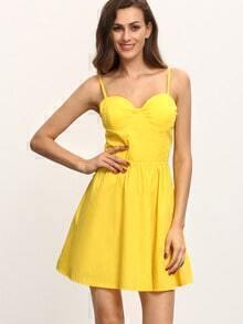 Sweetheart Neckline Cami Dress - Yellow