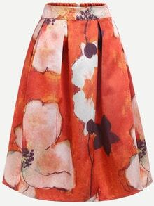 Flower Print Box Pleated Zipper Skirt