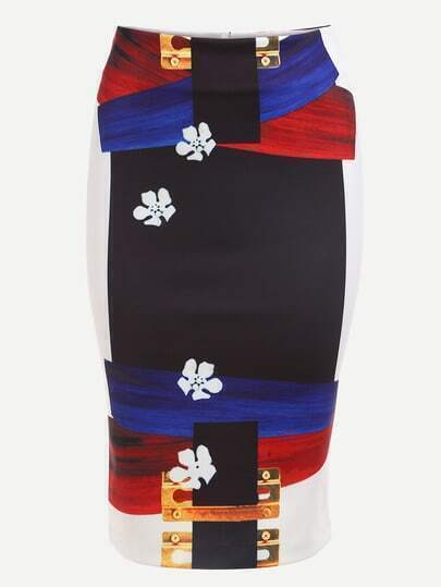 Multicolor Abstract Pencil Skirt