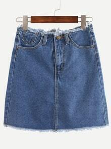 Raw Waist & Hem Blue Denim Skirt