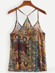 Multicolor Vintage Print Chiffon Cami Top