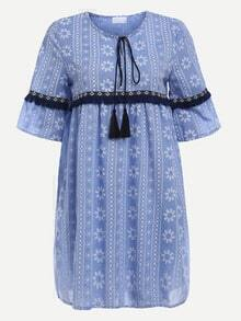 Tassel Tie-Neck Woven Tape Embellished Printed Dress - Blue