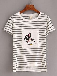 Dog Print Striped T-shirt - White