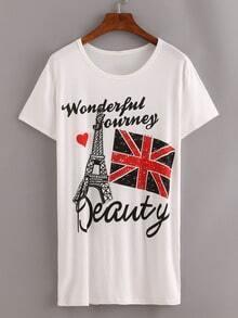 Studded Eiffel Tower Print White T-shirt