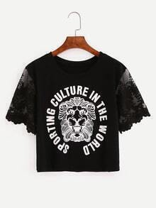Embroidered Mesh Sleeve Crop Graphic T-shirt - Black