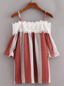 Lace Trimmed Cold Shoulder Vertical Striped Top - Brick red