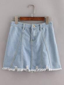 Pale Blue Fringe Denim A-Line Skirt