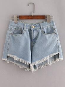 Pale Blue Fringe Denim Shorts