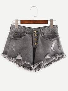 Grey Ripped Fringe Denim Shorts With Single Breasted