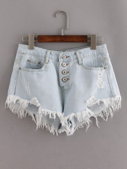 Blue Ripped Fringe Denim Shorts With Single Breasted