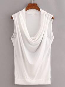 White Cowl Neck Sleeveless Shirt