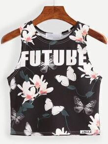 Florals Butterfly Print Tank Top