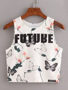 White Florals Butterfly Print Tank Top