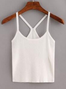 White Spaghetti Strap Ribbed Cami Top