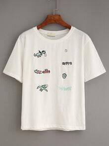 White Cartoon Embroidered T-Shirt