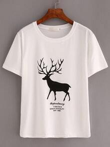 White Deer Print T-Shirt