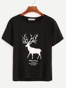 Black Deer Print T-Shirt