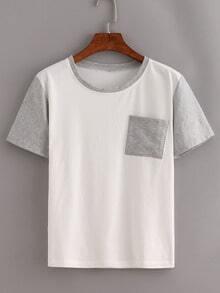 Contrast Short Sleeve Pocket T-Shirt