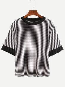 Contrast Ruffle Sleeve Striped T-Shirt