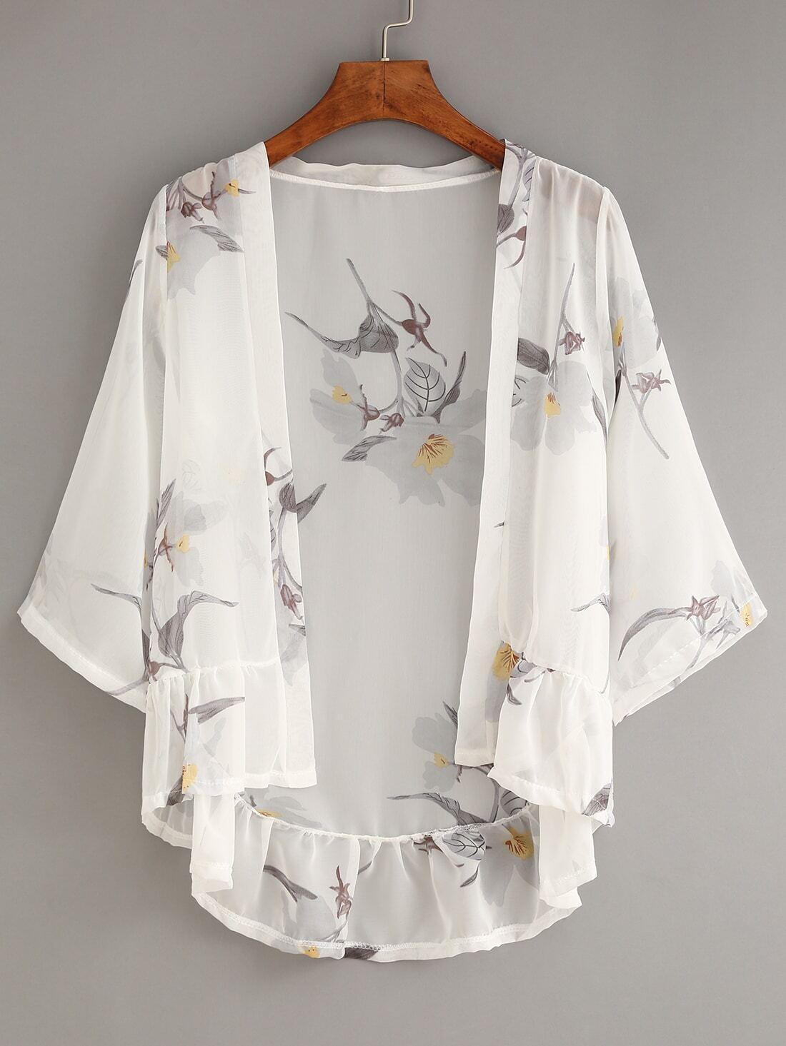 White Flower Print Ruffle Chiffon Kimono -SheIn(Sheinside)