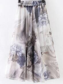 Grey Elastic Waist Flower Print Chiffon Flare Skirt