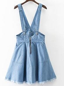 Blue Zipper Front Pocket Fringe Trim Denim Strap Skirt