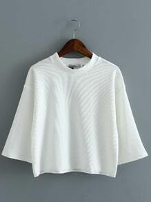 White Round Neck Elbow Sleeve Loose Blouse