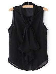 Black Tie Neck Bow Sleeveless See-through Blouse
