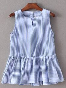 Multicolor Ruffle Hem Striped Buttons Back Sleeveless Blouse